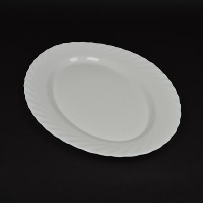 "Trianon White 13.75"" Oval Serving Plate"