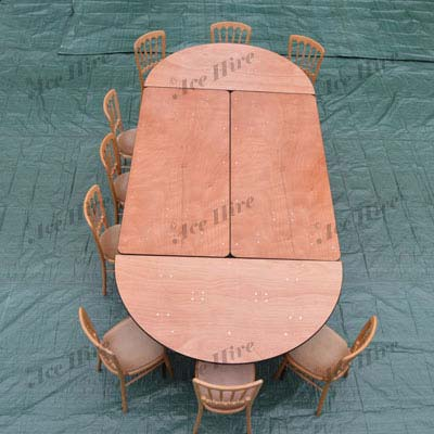 Pair of Wooden Half Round 5ft Table Ends